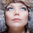 Woman in fur hat - Stock Photo