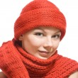 Stock Photo: Portrait of beautiful womin red hat