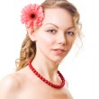 Portrait of sexy caucasian young woman w — Stock Photo