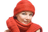 Portrait of a beautiful woman in red hat — Stock Photo