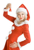 Female Santa Clause holding a hand bell — Stock Photo