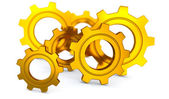 Gold Gearwheels — Stock Photo