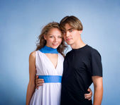 Young couple. Studio shot — Stock Photo