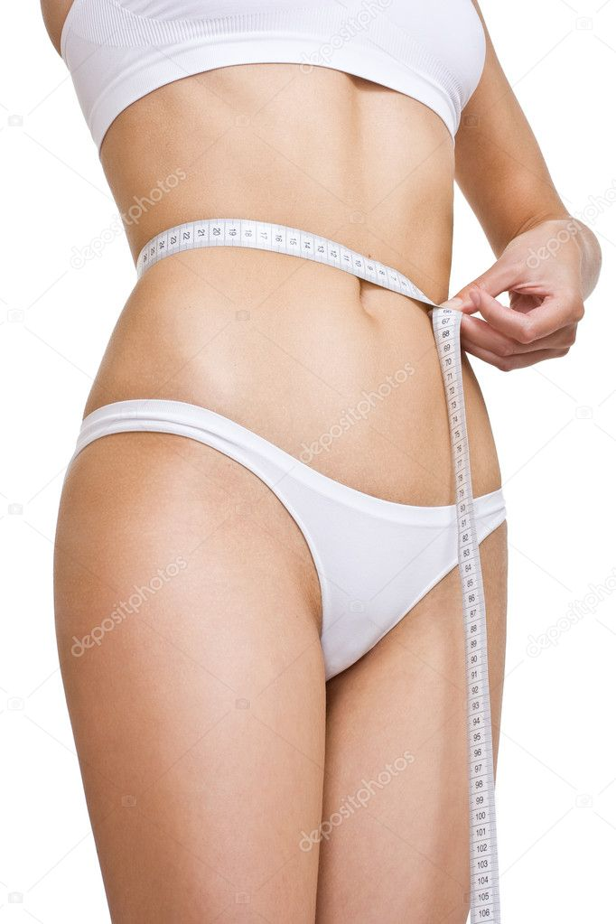 Measuring tape around womans waist — Stock Photo #1294555