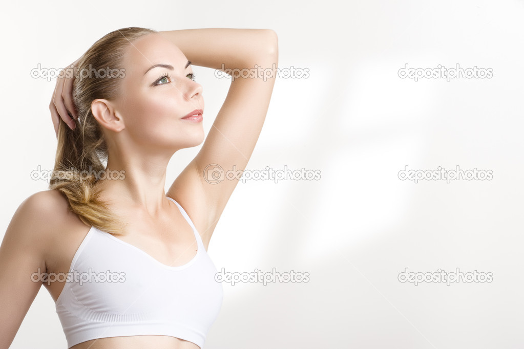 Closeup portrait of a athletic woman  — Stock Photo #1297516