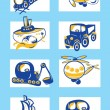 Stock Vector: Cartoon vehicles vector