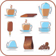 Stock Vector: Vector coffee elements set