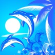 Vector de stock : Summer background with two dolphins