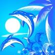 Fondo de verano con dos delfines — Vector de stock