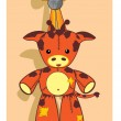 Vector of Cartoon giraffe, soft toy - Stock Vector