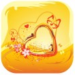 Yellow heart and flower abstract — Stock Vector