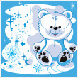 Polar bear on a white background — Vector de stock