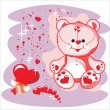 Valentin Teddy bear with red heart — Stock Vector #1378568