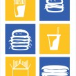 Stock Vector: Illustrations of fast foods icons