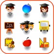 Set of education on vector icon - Stock Vector