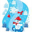 Two snowman on sledge — Stock Vector