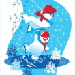 Stock Vector: Two snowmen on slippery ice
