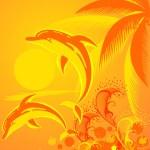 Fondo tropical con palmeras — Vector de stock