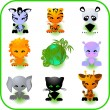 Royalty-Free Stock Vektorfiler: Cute Safari Animal Set