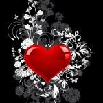 День Святого Валентина на черном фоне — Cтоковый вектор