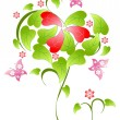 Valentines Day floral background — 图库矢量图片