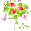 День Святого Валентина цветочный фон — Cтоковый вектор