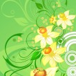Stock Vector: Daffodils on green floral background