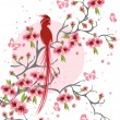 Cherry blossom and bird background — Stock Vector
