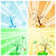 Stock Vector: Four Seasons Tree