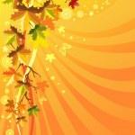 Autumn foliage on a solar background — Stock Vector