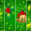 Vertical Christmas green banners — Stock Vector