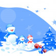 Christmas design with snowman - Stock Vector