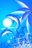 Summer background with two dolphins — Stock Vector