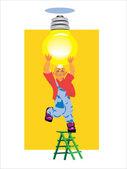 Bombilla de luz eléctrica y se incluye — Vector de stock