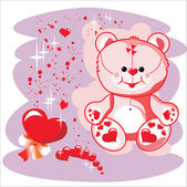 Valentin Teddy bear with red heart — Stock Vector