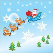 Santa Claus with Christmas deer — Stock Vector