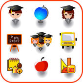 Set of education on vector icon — Stock Vector