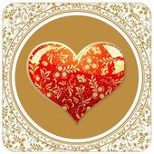 Valentine`s day gold card — Stock Vector