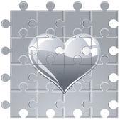Puzzle metallic heart — Stock Vector