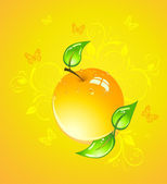 Yellow apple, vector illustration — Stock Vector