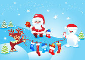 рождественские подарки и санта-клауса — Cтоковый вектор
