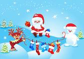 Julklappar och jultomten — Stockvektor
