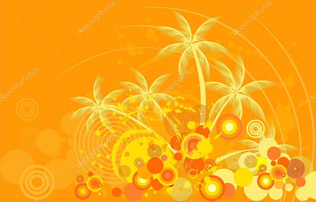 Tropic background with palm tree  — Stock Vector #1378497
