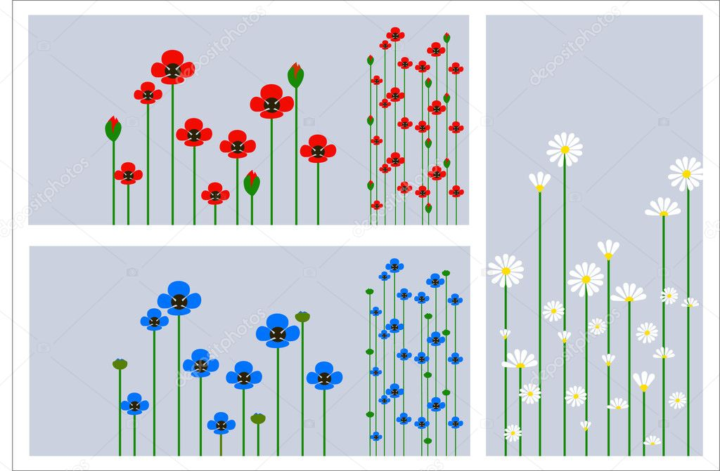 Grass and flowers silhouette, summer background — Stock Vector #1378526