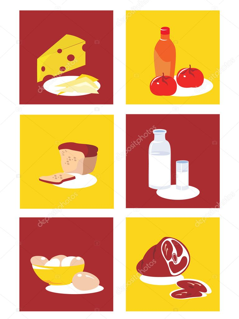 Food and Restaurant icons. Vector icon set. Three color icons. — Stock Vector #1378528