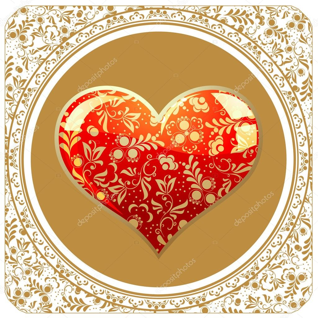 Golden Valentine's Day background — Stock Vector #1378909