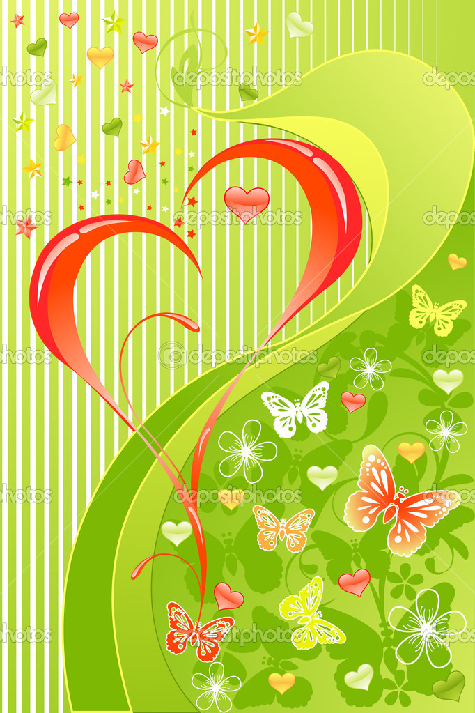Valentines Day floral background with  butterfly — Векторная иллюстрация #1378927