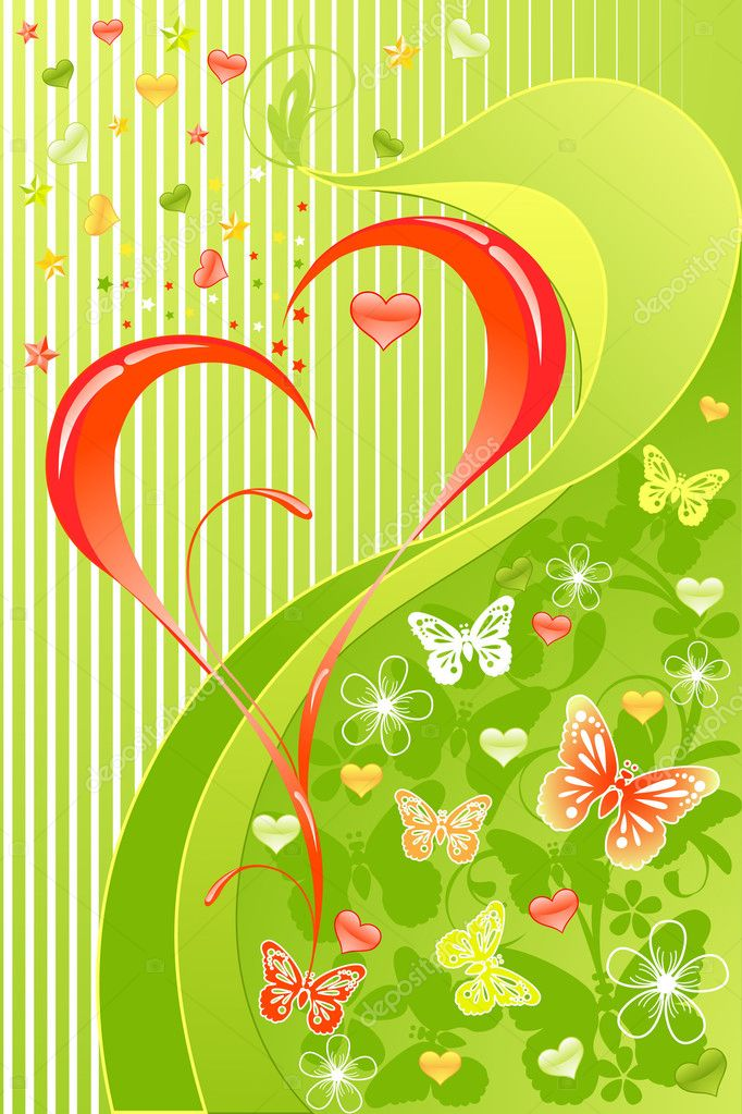 Valentines Day floral background with  butterfly — Imagen vectorial #1378927