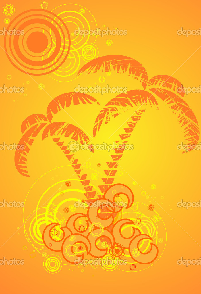 Summer vector background with tropical beach — Stock Vector #1379039