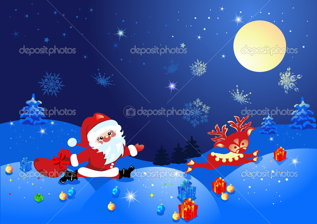 Christmas night, and Santa Claus with deer  Stock Vector #1379433